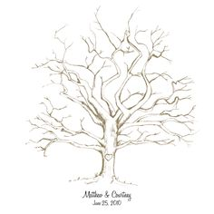 Printable HandDrawn Wedding Fingerprint Tree by CardsnLetters, $18.00