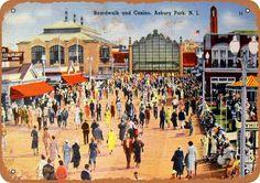 vintage postcard asbury park casino boardwalk linen print new jersey afternoon Asbury Park Boardwalk, Vintage Jerseys, Cape May, Atlantic City, Ocean City, Vintage Postcards, Vintage Ephemera, Aerial View, Metal Signs