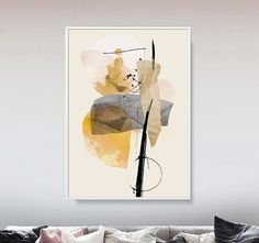 Large Abstract Art Printable Art Minimal Art Grey And Painting For Kids, Diy Painting, Art Gris, Abstract Art Images, Grand Art, Yellow Wall Art, Bedroom Art, Images Google, Acrylic Painting Canvas