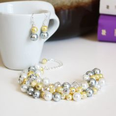 Gray Yellow White Pearls Cluster Bracelet, Bridal Jewelry Set, Cluster Pearls Bracelet, Bridesmaids Gifts, Pearls Jewelry, Yellow Bracelet on Etsy, $16.74