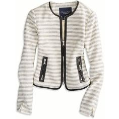 AE Collarless Zippered Jacket and other apparel, accessories and trends. Browse and shop 2 related looks.