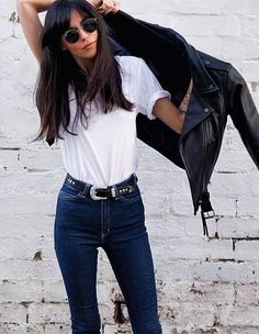 Leather Biker Jacket | White Tee | Skinny Indigo Jeans | Denim | Western Belts | Bangs | Ray Bans