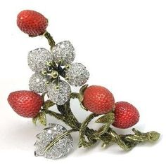 strawberry vintage brooch #DiamondBrooches #antiquejewelry