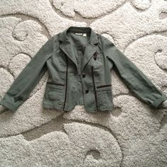 Olive DKNY Jacket This beautiful olive colored jacket has brown accents and elbow patches. Barely worn! DKNY Jackets & Coats Utility Jackets
