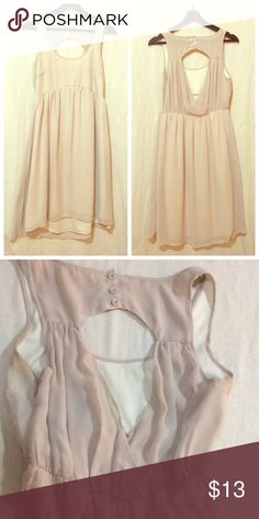 Cream Urban Outfitter shift empire high low dress Slightly used, gauzy soft beige/tan. High low skirt, button detailing on the nape. Lays like a shift dress or could be worn more form fitting on a size 8 Pins & Needles Dresses High Low