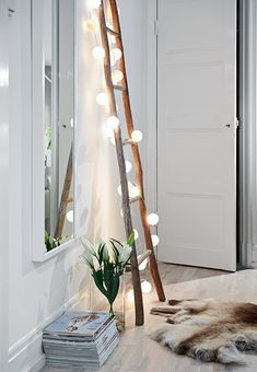 White wall, lights and wood