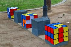 San Diego Comic Con 2013--Yarnbombed! (Rubik's Cubes installation across the street)