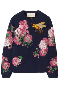 Gucci intarsia wool sweater with Bloom motifs and embroidered with a bee, available at NET-A-PORTER