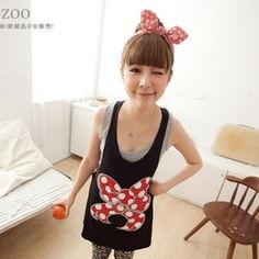 YESSTYLE: ZOO- Bow Print Racerback Tank Top (Black - One Size) - Free International Shipping on orders over $150 - StyleSays