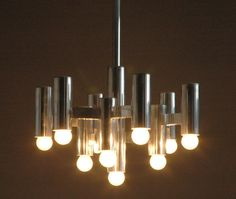 Gaetano Sciolari 10 bulb chandelier vintage design light lamp Italian art