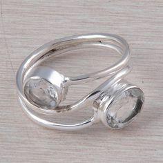 CRYSTAL CUT GEMSTONE 925 STERLING SILVER EXCLUSIVE RING JEWELLERY 3.07g R01595 #Handmade #GEMSTONERING