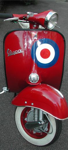 red, white & blue Vespa