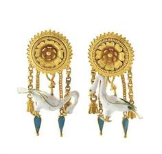 A PAIR OF EARRINGS BY CASTELLANI Each designed as a white enamel swan with a four chain tassle suspended from a double rose boss Each stamped CC for Castellani