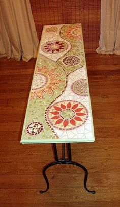 Mosaic Hall Table made with ceramic tiles.