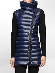 performance asymmetrical rib knit down puffer jacket | Calvin Klein | $149