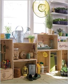 Ideas For Repurposing Old Crates -   Garden Shed Wine Crate Storage Shelves