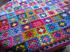 Crochet Afghan Blanket Patchwork Granny Squares by Thesunroomuk