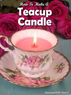 Diy teacup candle - it's easy to make a vintage teacup candle with microwavable soy wax! this tutorial includes a video showing how to wick the candle, Teacup Candles, Soy Candles, Candle Cups, Candle Art, Homemade Candles, Homemade Gifts, Diy Candles Step By Step, Teacup Crafts, Teacup Decor