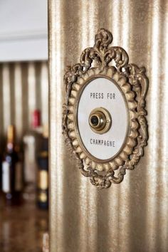 "The ""press for champagne"" button at the Film Noir Suite at the Montage Beverly Hills Hotel. Press For Champagne, Champagne Bar, South Shore Decorating, Beverly Hills Hotel, Shabby, In Vino Veritas, Lettering, Elle Decor, Luxury Homes"