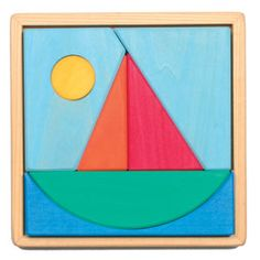Sailboat Puzzle by Grimm. Preschool Puzzles, Toddler Preschool, Wooden Baby Toys, Wood Toys, Grimm's Toys, Wooden Sailboat, Shape Puzzles, Green Toys, Wooden Shapes