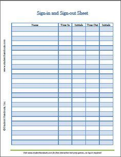employee sign in sign out sheet template