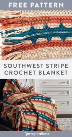 Striped Crochet Blanket, Easy Crochet Blanket, Crochet Indian Blanket Free Pattern, Crochet For Beginners Blanket, Afghan Crochet Patterns, Crochet Basics, Crochet Blankets, Scrap Yarn Crochet, Crochet Quilt
