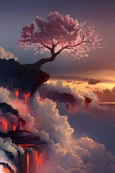 Pink tree over looking mountains