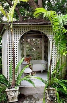 the man who builds me a gazebo with an outdoor bathtub in it is the man i will marry. Outdoor Areas, Outdoor Rooms, Outdoor Living, Outdoor Structures, Outdoor Decor, Outdoor Bathtub, Outdoor Bathrooms, Outside Showers, Outdoor Showers