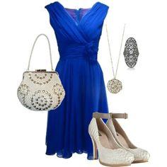 crisp white dress with royal blue heels | Z Phi B | Pinterest ...