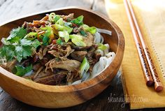 Crock Pot Asian Pork | Skinnytaste : Serve with baby spinach slightly wilted in the broth over rice and garnished with green onions. It would also be great to add carrots, corn, or bok choy at the end with the spinach.
