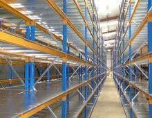 Runs of longspan shelving with galvanised steel decks Longspan Shelving, Shelving Systems, Hair Tool Storage, Steel Deck, Racking System, Galvanized Steel, Hair Tools, Decks, Design