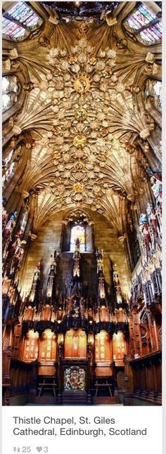 Thistle Chapel in St. Gile's Cathedral, Beautiful! I've been there.
