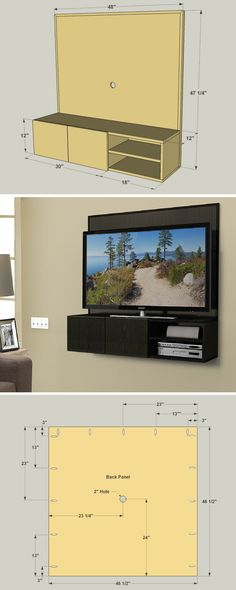 "This wall-mounted media cabinet takes a new approach to the traditional ""entertainment center."" It hangs on the wall, allowing you to mount your TV to it, and then keep small media components on the shelves below. Wires hide behind the back panel. FREE PLANS at buildsomething.com"