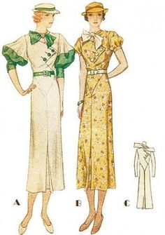 "Fashion through the ages: Fashion from 1930 to 1940 "" Hemlines were uneven, pleates and godests below the knee were popular"""