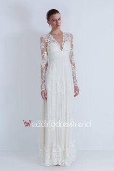 Vintage Sheath V-neck Lace Wedding Dress