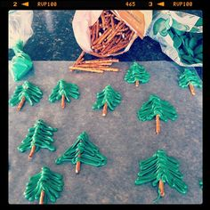 Adorable idea by Carrie Rowe - Christmas trees from pretzel sticks and melted green chocolates!