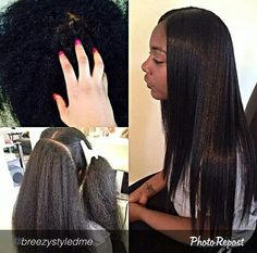 Yes it's natural hair! Flat-ironed.  NO WEAVE 100% NATURAL.