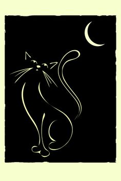 Cat & Moon. Elegant illustration of a cat, inspired by Lautrec and Art Deco illustrations.