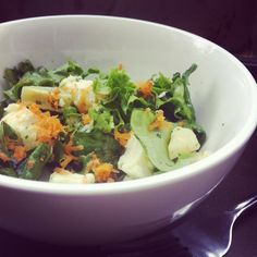 Artichoke, carrot and mozza salad with basil and mint vinaigrette.