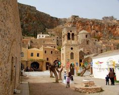 Monemvasia is a Gibraltar-like rocky island off the east coast of the Peloponnese, in Greece Invisible Cities, Nature Photos, East Coast, Adventure Travel, Wander, The Good Place, Dolores Park, Street View, Island