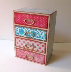 Shabby Chic Four Drawer Treasure Box Trinket Box Jewelry Box Treasure Chest