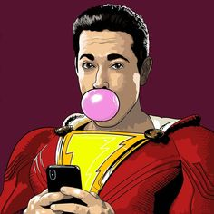 I drew #shazam today im realy looking forward to the film, i have high hopes now.  #shazammovie #dc #dccomics #warnerbros #2019 #illustration #adobeillustrator #adobe #digital #artwork #art #portrait #superhero #comic #dcentertainment #gum #batman #superman #injustice2 #injustice #justiceleague