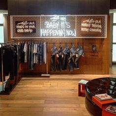 "LANE CRAWFORD,Beijing, China, ""Denham TheJeanMaker Installation-Baby It's Happening NOW"", pinned by Ton van der Veer Shoe Store Design, Clothing Store Design, Retail Store Design, Clothing Store Displays, Showroom Interior Design, Usa Store, Industrial Restaurant, Jeans Store, Retail Space"