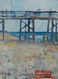 """At the Pier""  Oil Painting    Created by Suzanne DeCuir  One of a Kind  DeCuir applied the paint using rollers, palette knives and brushes in order to create a textured effect that captures the sense of movement of wind, water, and people on the beach on a clear, bright day. This oil on canvas is 48 X 36 and painted on gallery wrap canvas with deep edges that are painted on all sides. It is ready to hang without a frame and can be lightly dusted, requiring no special care."