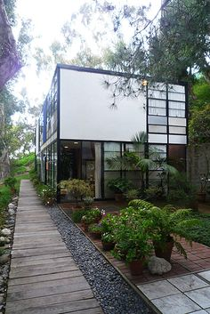 Eames house, Love the casualness of the garden.