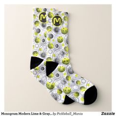 Monogram Modern Lime & Gray Pickleball Socks