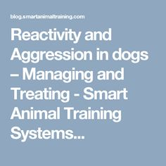 Reactivity and Aggression in dogs – Managing and Treating - Smart Animal Training Systems...