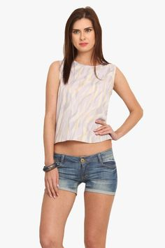 Multi Poly Crepe Top: Keep your look lively as you wear this #Top, in Multi coloured, from the house of #LeoSansini.