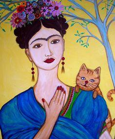 """frida and her cat"" | pristine cartera turkus"