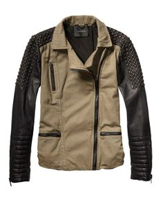 Military-Meets-Biker Cotton Jacket > Womens Clothing > Jackets at Maison Scotch